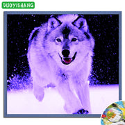 DUOYISHANG 5D DIY Diamond Painting Wolf Snow Full Square Diamond Embroidery Mosaic Animals Running Wolf Pictures Of Rhinestones