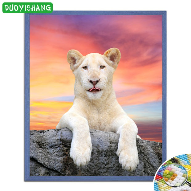 DUOYISHANG DIY Diamond Painting Lion Full Square Drill Mosaic Embroidery Resin Animals Paintings Rhinestones Wall Art Decoration