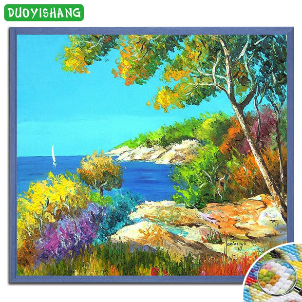 DUOYISHANG DIY Diamond Painting Scenery Full Square Diamond Embroidery Sale Landscape Tree Mosaic Rhinestones Painting Handwork