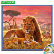 DUOYISHANG Full Square Cute Baby Lion DIY Diamond Painting Embroidery Sale Animals Lion Picture By Rhinestones Mosaic Handwork