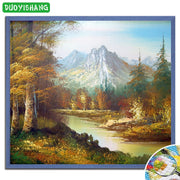 Deep Mountain Stream DIY Diamond Painting Scenery Full Diamond Embroidery Landscape Tree Mosaic Rhinestones Picture Decor Home
