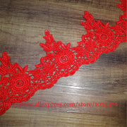 Delicate 6Yards Red Wedding Flower Venice Lace Trim Polyester Applique Sewing Trims Craft 8.5cm LW0016