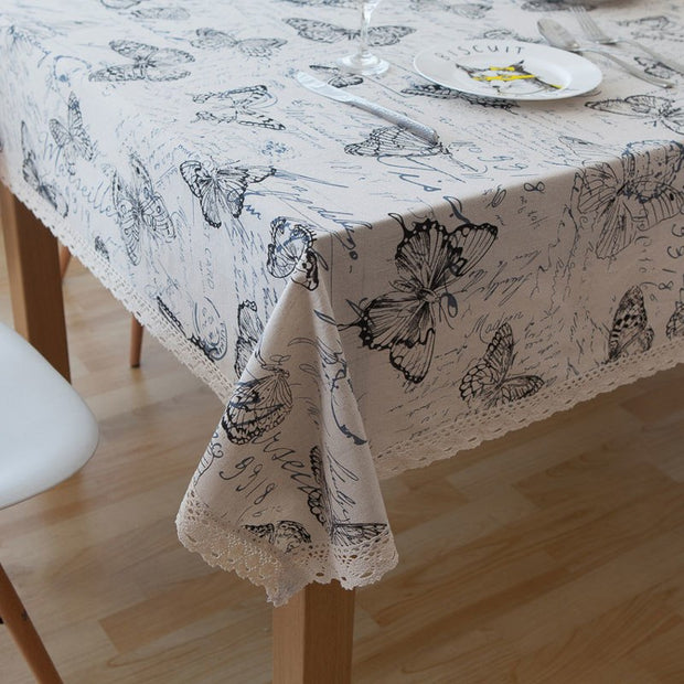 Deoxygene Butterfly Print Decorative Table Cloth Cotton Linen Lace Tablecloth Dining Table Cover For Kitchen Home Decor