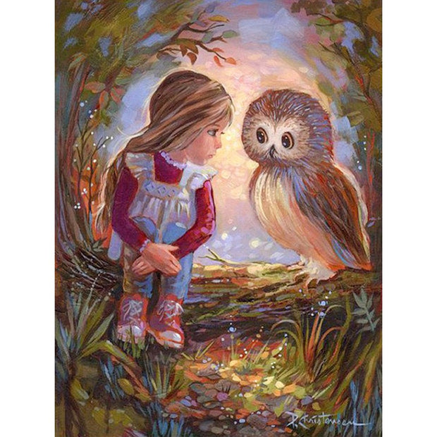 Diamond Painting Full Round/square Owl And Little Girl Mosaic DIY Diamond Painting Owl Cross Stitch Embroidery Home Decor Gift