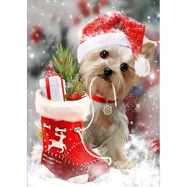 Diy Diamond Embroidery Cartoon Animal Dog Christmas New Years Gift Picture Diamond Painting 3D Diamond Mosaic Home Decor