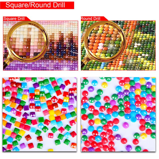 Diy Little Leopard Round Diamond Painting Animal 5d Diamond Painting Full Square Rhinestones Embroidery Cross-stitch Home Decor