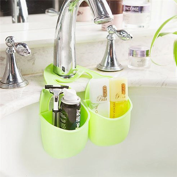Double Basket Kitchen Sink Pouch Bags Baskets Kitchen Storage Organization