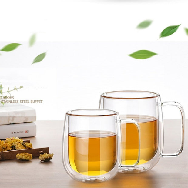 Double Layers Handmade Glass Cup Simple Morning Mug With Handle Coffee Milk Juice Cup Clear Heat Resistant Water Cup