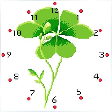 Embroidery Package High Quality Cross Stitch Kits Four Leaves Clover Has Clock Free Shipping