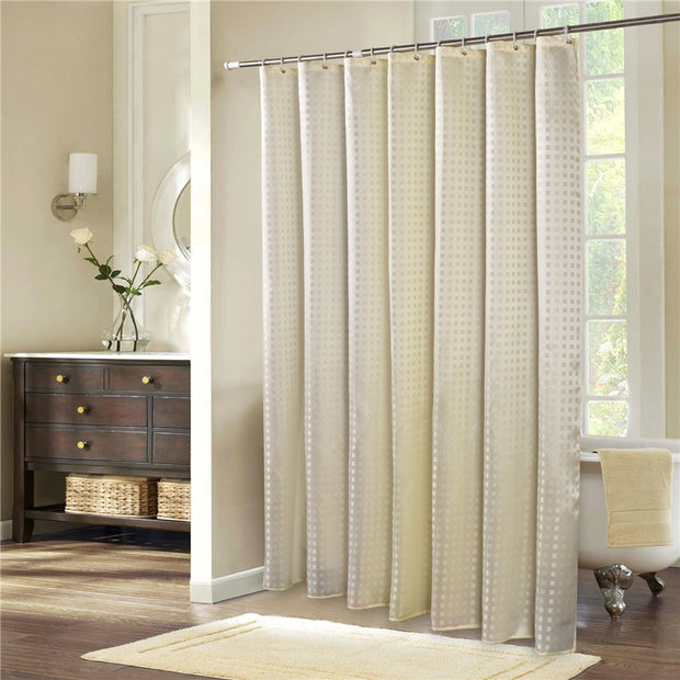European Gold Plaid High-Grade Bath Shower Curtains With 12 White Plastic C-type Hook Home Bath Curtains Bathroom Products