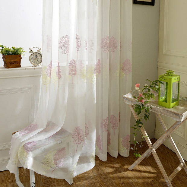 European Tulle Curtains Luxury Embroidered White Window Sheer Voile Living Room Window Treatment Transparent Door