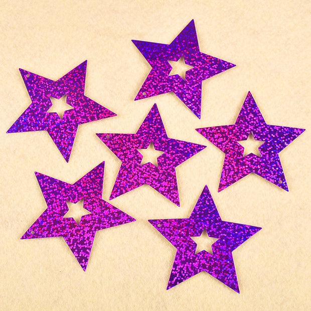 FLYDREAM 100pcs Colorful Plastic Stars Christmas Party Decor Garlands Wedding Screen Birthday Party Room Bedroom Decor Supplies