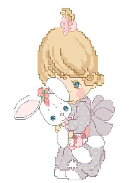 FREE Shipping Top Quality Popular Counted Cross Stitch Set Girl And Bunny Rabbit
