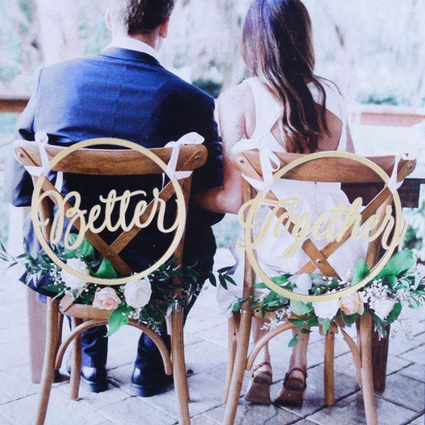Fashion Wedding Chair Wood Signs Photo Props Rustic Wooden Believe & Together Chair Pendant Decoration