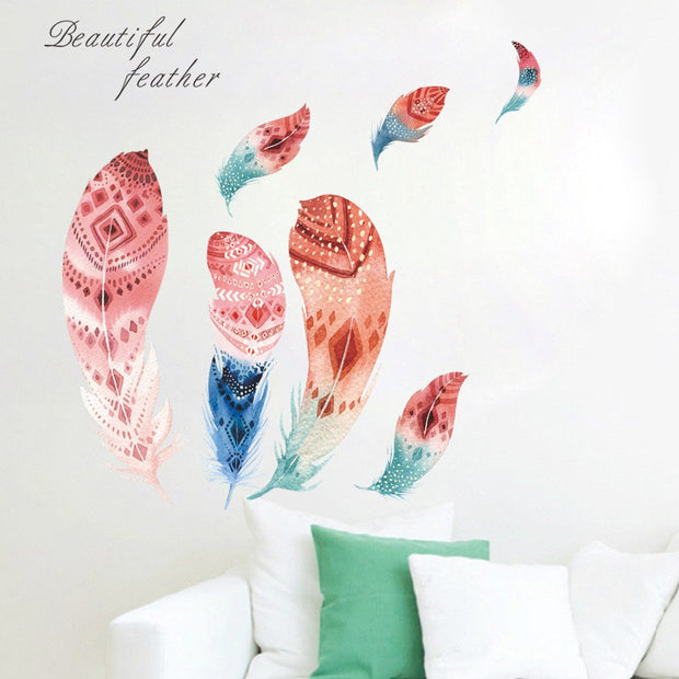 Feather Removable PVC Wall Sticker Decal Mural Art Room Home Colorful Decor Sticker Mural Wall Stickers For Kids Rooms