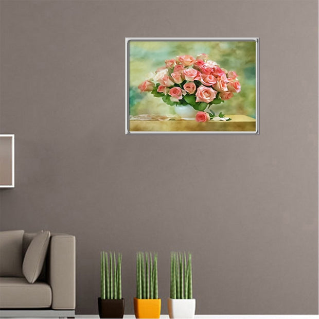 Flower Embroidery Cross Stitch Diamond Embroidery 5D Diamond DIY Diamond Mosaic Wall Stickers Home Decoration Vase