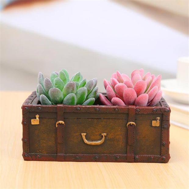 Flowerpot Cute Suitcase Shape Resin Succulent Plant Flowerpot Planters Pots Desktop Ornament Gift Home Garden Decor
