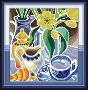 Flowers In The Blue And White Porcelain(1) ,counted Printed On Fabric Cross Stitch Kits,embroidery Needlework Sets, Home Decor