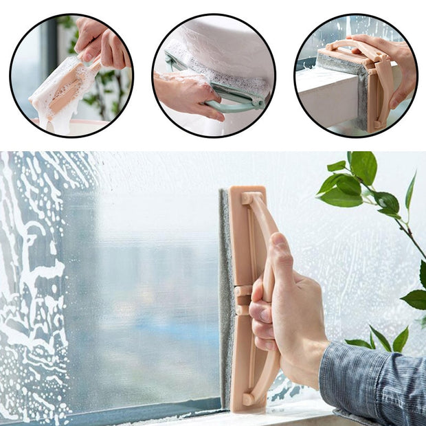 Folding Sponge With Handle Brush Window Glass Cleaning Brush Strong Cleaning Bath Brush Home Cleaning Tool