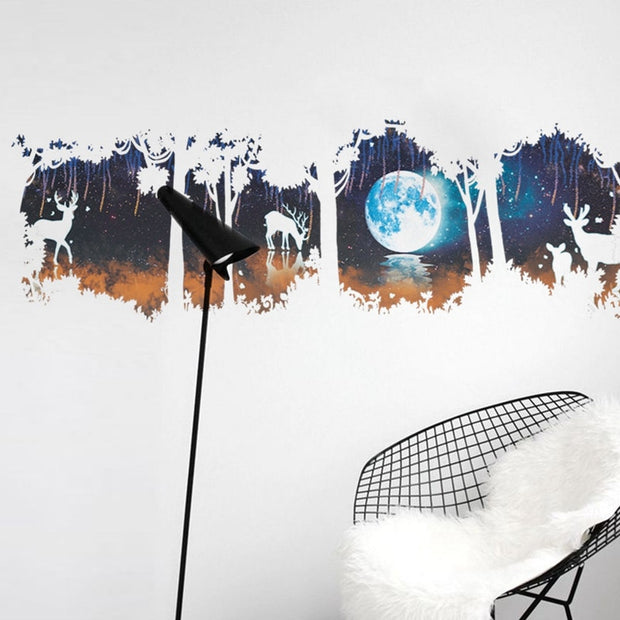 Forest Pattern Wall Stickers Forest And Deer For TV Background Kids Decorations Home Decoration Wall Arts 2018 New Arrival