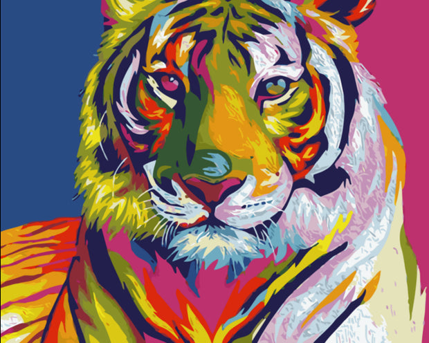 Frameless Colorful Tiger Pictures Oil Painting By Numbers With Frame DIY Coloring By Numbers Animal Home Decoration 40x50cm