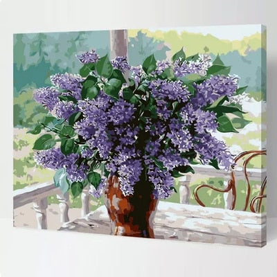 Frameless DIY Oil Painting By Number The Courtyard Lavender Picture Drawing By Numbers Unique Gift Paint By Numbers 40x50cm
