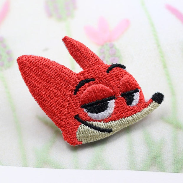 Free Shipping 5 Pcs Cartoon Zootopia Fox Nick Head Embroidered Patches Iron On Motif DK Sew On Applique DIY Accessory