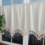 Free Shipping Modern Plaid With Tassel Curtain Minimalist Style Half-curtain Kitchen Curtain Cafe Short Panel Curtain