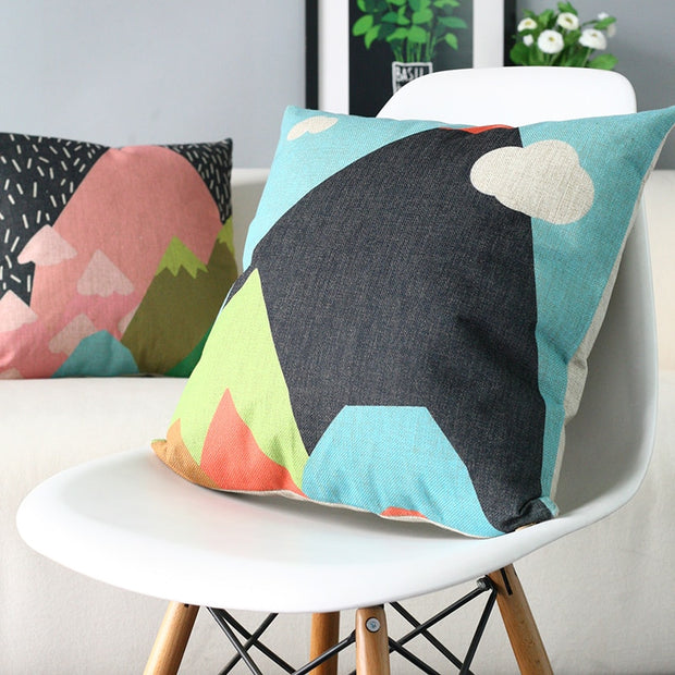 Fresh And Lovely Cartoon Pillowcase Snow Mountains Printed Square Cushion Decorative Pillow Home Decor Throw Pillow 45*45