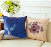 Fresh Flower And Bird Printed Pillowcase Hand Drawn Illustration Cotton Linen Cushion Decorative Pillow Home Decor Throw Pillow