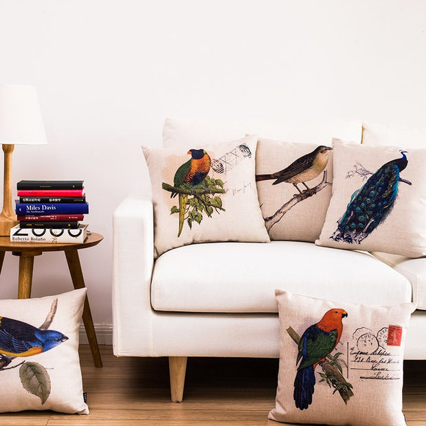 Fresh Flower Bird Series Linen Cotton Pillowcase Simple American Cushion Decorative Pillow Home Decor Sofa Throw Pillows 45*45