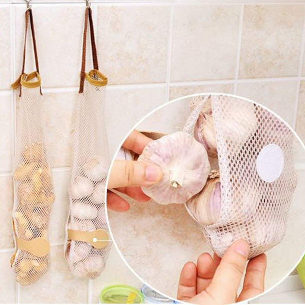 Fruit And Vegetable Kitchen Reusable Hanging Storage Mesh Bags Pack Of 5