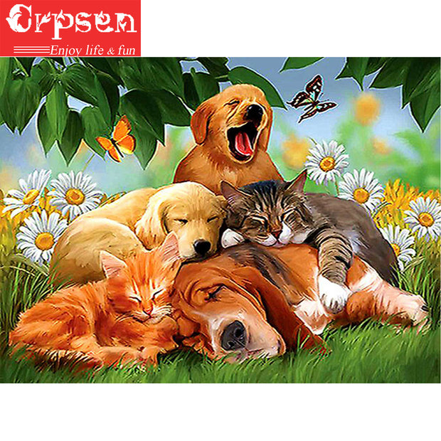 Full Square 5D DIY Embroidery Diamond Painting The Dogs Gift Animal Crafts&Sewing Needlework Cross Stitch Home Decoration Crpsen