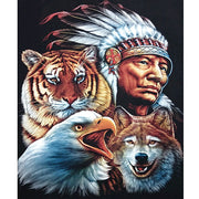 "Full Square Drills 5D DIY Diamond Painting ""Indian & Animals"" Mosaic Embroidery Sets Cross Stitch Home Decor Tiger Eagle Gifts"