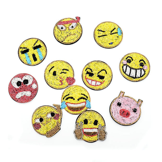 GUGUTREE Embroidery Beaded Emoji Patches Face Patches Badges Applique Patches For Clothing SK-16