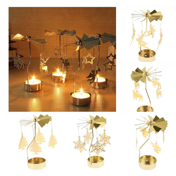 Glitter Gold Plated Windmill Tea Light Candle Holder Wedding Decor Ornament: Snowflakes Elf Star Heart Xmas Tree Deer
