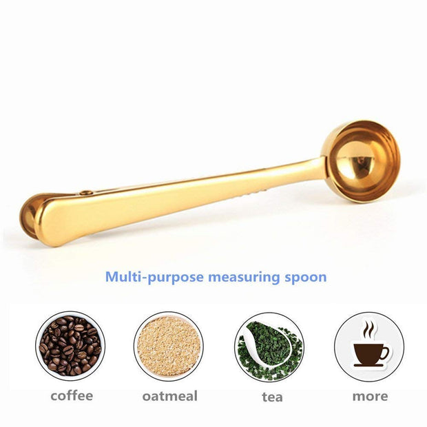 Gold Stainless Steel Coffee Scoop With Bag Seal Clip For Coffee, Milk Powder, Tea, Oatmeal (2 Pack)