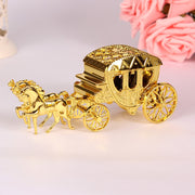 Gold Wedding Favor Box With Shiny Royal Carriage Shape High Quality Plastic Unusual Style Gift Candy Boxes For Wedding Supply