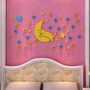 Good Night Bear Acrylic 3D Crystal Wall Sticker Children's Room TV Background Wall Living Room Cartoon Star Moon Wall Decoration