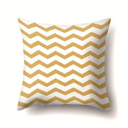Gray And Yellow Solid Color Stripe Square Throw Pillow Case Simple Polyester Pillowcase For Living Room Bedroom 45*45cm