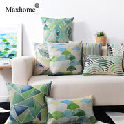 Green Watercolor Abstract Geometric Pillowcases Simple Pastoral Cushion Decorative Pillow Cushions Home Decor Almofadas 45*45