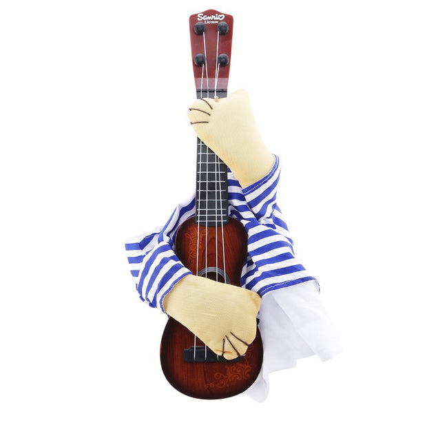 Guitar Dog Clothes New Striped Pet Christmas Costume Dressing Up Party Xmas Halloween New Year Clothes For Dog Cats Plus Wig