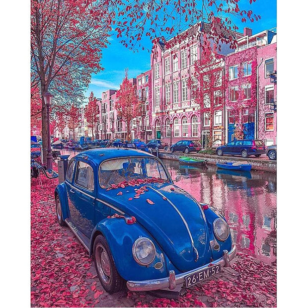 H368 Diamond Embroidery Car And Maple Leaves,full Square,diamond Painting Cross Stitch,5d,diamond Painting Car On Street