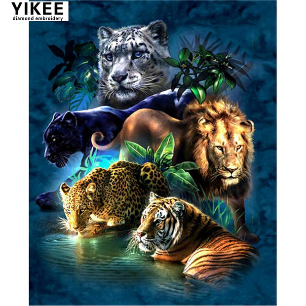 H369 Diamond Embroidery Animals,full Square,diamond Painting Cross Stitch,5d,diamond Painting Big Cat Prowess