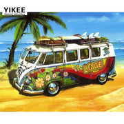H387 Diamond Painting Embroidery,full,diy,square,diamond Embroidery Full,diamond Painting Seaside VW Car