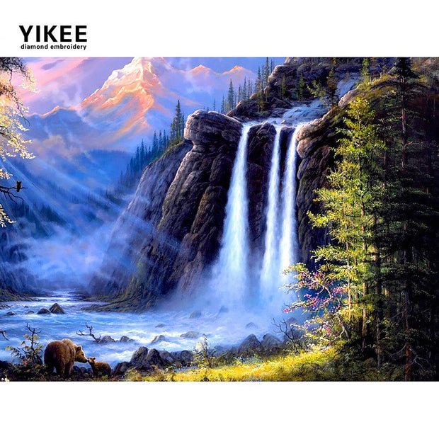 H395 Diamond Painting Landscape,full,diy,square,mosaic Diamond Painting,diamond Painting Waterfall