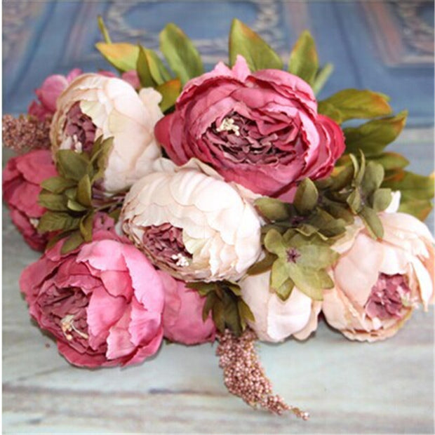 HIGHT Quality Silk Flower European 1 Bouquet Artificial Flowers Fall Vivid Peony Fake Leaf Wedding Home Party Decoration New