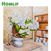 "HOMLIF Full Square/Round Drill 5D DIY Diamond Painting ""Frog Toilet"" 3D Embroidery Cross Stitch Mosaic Home Decor Gift"