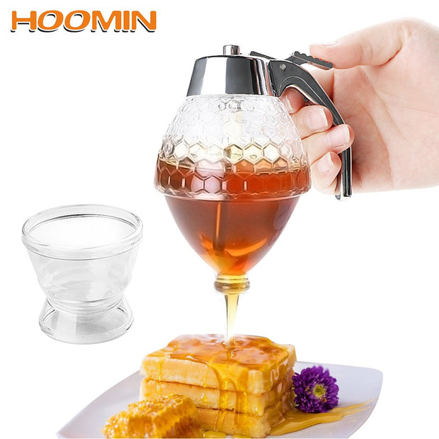 HOOMIN Bee Drip Dispenser Kettle Honey Jar Container Squeeze Bottle Juice Syrup Cup Storage Pot Stand Holder Kitchen Accessories