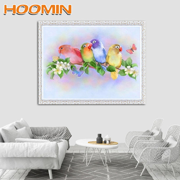 HOOMIN Diamond Embroidery Kits Diamond Mosaic Diamond Painting Cross Stitch Home Decoration Rhinestone Birds Pattern